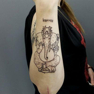 KARMA TATTOO #ganeshatattoo #ganesha #tatuaggio #roma #indiantattoo #tattoo #karma