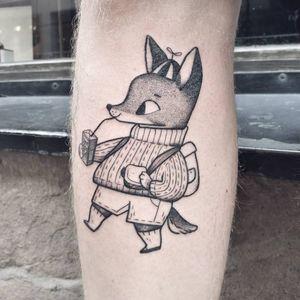 Tattoo by Agata Zlotko Piwowar #AgataZlotkoPiwowar #foxtattoos #fox #animal #nature #blackwork #linework #dotwork #foodtattoo #food #cute #illustrative