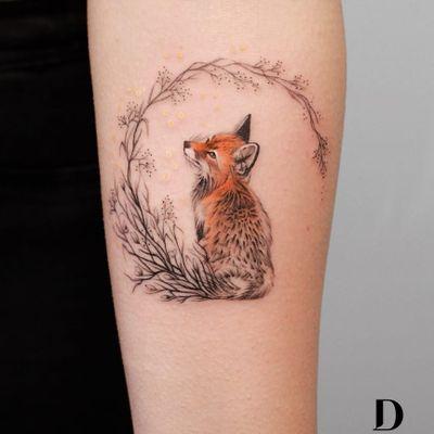 Tattoo by Deborah Genchi #DeborahGenchi #debratist #foxtattoos #fox #animal #nature #cute #color #realism #realistic #illustrative #watercolor #floral #flower