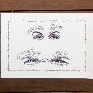 Script and ballpoint eyes