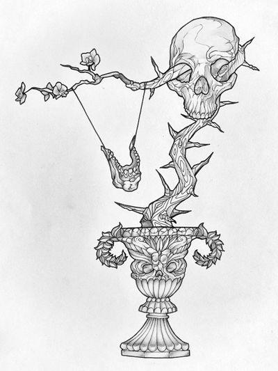 Skull flower 💀 #draw #art #artwork #lineart #simple #fantasy #blackandwhite #sketch #flash #fun #elegant #minimalist #black #skull #flowers #tree #dark #death