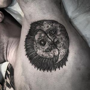 Tattoo by Leny Tusfey #LenyTusfey #moontattoos #moon #nature #illustrative #sun #darkart