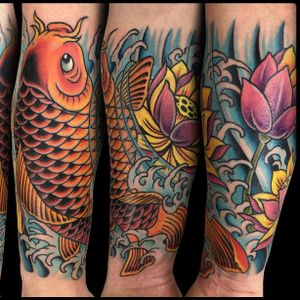 Japanese arm #japanesetattoo #japanese #raijin #dragon #irezumi #traditional #traditionaltattoo #color #romatattoo #sleeve #neotraditional #flashtattoo #tattooartist #tattooworkers #skinartmag #koi #koifish #lotus #lotustattoo #Tattoodo