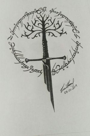 Diseño de Narsil, la espada rota del Señor de los Anillos