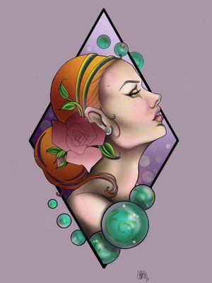 This tattoo design is available. I called her #freckles#redhair#neotraditional#noeveau#roses