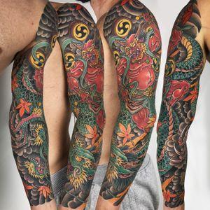 Japanese arm #japanesetattoo #japanese #raijin #dragon #irezumi #traditional #traditionaltattoo #color #romatattoo #sleeve #neotraditional #Tattoodo