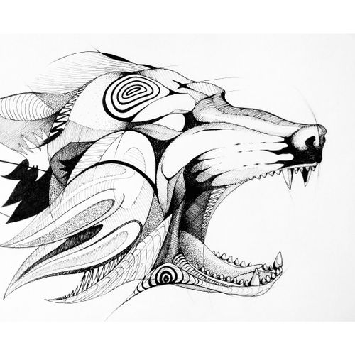 Wolf 🐺 #draw #art #artwork #lineart #simple #wolf #animal #sexy #blackandwhite #sketch #flash #elegant #minimalist #black #dot