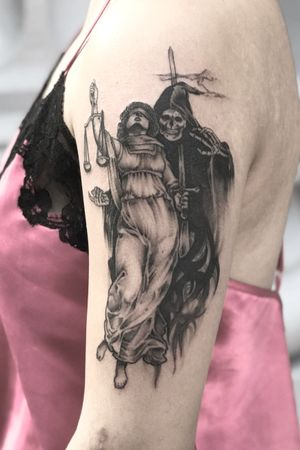 Reaper and lady justice done entirely with a tight 3. Still one of my favorites!