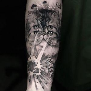 Tattoo by Coreh Lopez #CorehLopez #realisticanimaltattoos #realisticanimal #realistictattoo #animal #animaltattoos #nature #cat #feline #kitty #funny #trippy #blackandgrey