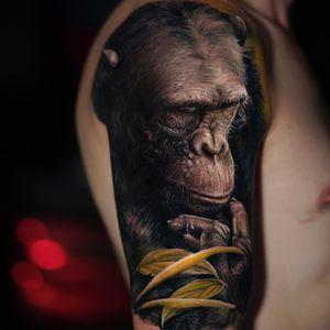 Tattoo by Yomico #Yomico #realisticanimaltattoos #realisticanimal #realistictattoo #animal #animaltattoos #nature #chimpanzee #chimp #monkey #plant #leaves #color