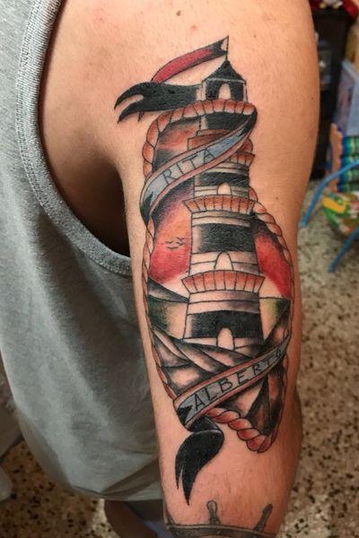 """""""Sparrow of the Sea"""" la rondine del mare in ricordo dei parenti.. #sparrow #sea #marine #colortattoo #colorful #tattooart #italy"""