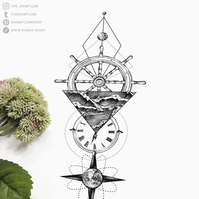 Stars will guide you! Full design, temporary tattoo, commissions: www.rawaf.shop or follow on Instagram or Tumblr for new designs. #dotwork #blackwork #geometric #nautical #sailor #travel #nature #compass #clock #galaxy #moon #black #blackandgrey