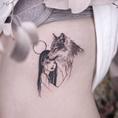 Tattoo by Zihae #Zihae #realisticanimaltattoos #realisticanimal #realistictattoo #animal #animaltattoos #nature #illustrative #wolf #moon #girl #anime #blackandgrey