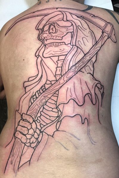 Liiiiiiines down! Got the first of two days of outlining done on this backpiece today for Jonny. Cheers for sitting like a beast and giving me the freedom to run with this! We've got another arm, a lantern and some framing to go in next time. #welshtattoosociety #grimreaper #backpiece #heavymetalheavymetalheavymetal #neotraditionaltattoo #stencilporn