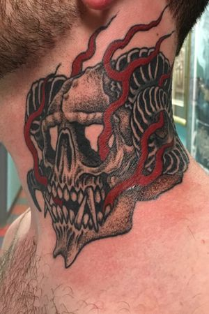#Demon #skull on some neckmeats! To book an appointment email me at patrickmurdough@yahoo.com #marigoldadornment #tattoo #tattoos #inked #montpeliervt #barrevt #montpelier #barre #waterbury #waterburyvt #middlesex #middlesexvt #northfieldvt #northfield #vermont #vermonttattooers #vermonttattooartist #vttattoo #802tattoo #802 #necktattoo #demontattoo #devil #deviltattoo