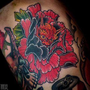 Tattoo by Mike Rubendall #MikeRubenall #tattoodoambassador #Japanese #Japanesetattoo #Irezumi #peony #flower #floral #hannya #color