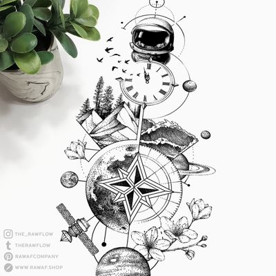 Wanderlust! 🌎 More: www.rawaf.shop or follow on Instagram (the_rawflow) or Tumblr (therawflow.tumblr.com) for new designs every week. #travel #compass #clock #galaxy #nature #mountain #time #dotwork #geometric #blackwork #black #blackandgrey #moon
