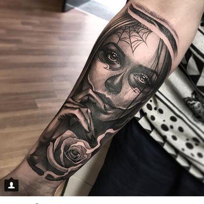My tattoo first part of sleeve #dayofthedead #diadelosmuertos #blackandgrey #realism #tattooartist #vladshulea