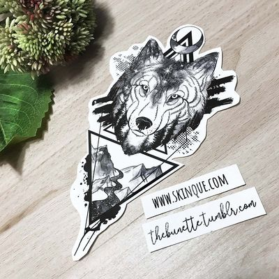 Lone wolf✨ www.skinque.com❤️ Commissions are always welcome and follow me on instagram: thebunettedesigns #wolf #wolfportrait #mountain #mountains #geometric #geometrictattoo #geometry #landscape #trashpolka #trashpolkatattoo #sketch #forest #foresttattoos #tree #trees #art #tattooflash