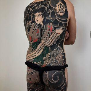 Tattoo by Lupo Horiokami #LupoHoriokami #tattoodoambassador #Japanese #Japanesetattoo #Irezumi #geisha #spiderweb #clouds #scroll #spider #calligraphy