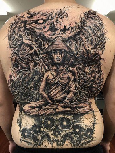 #zombie #samurai #dragon #backpiece #fullcolor #dark #DarkArt #thai #thailand #illustrative #drawing #blackandgrey #customtattoo