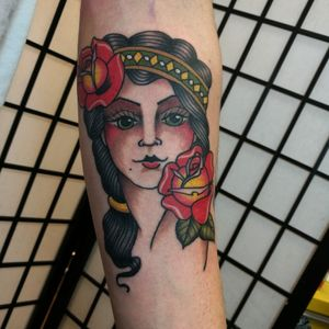 Lady head on the inner forearm #manchester #manchestertattoo #pinupgirl #ladyhead #traditionaltattoo