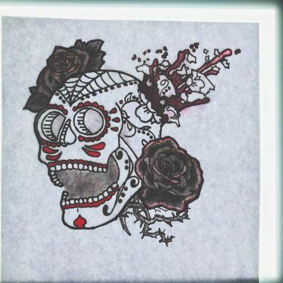 """La Vida Loca"" My own drawing excluding the roses. #sugarskulltattoo #skull #diadelosmuertos #dayofthedead #screaming"