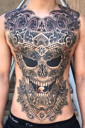 #skull #ornamental #ornamentaltattoo #fullfronttattoo #torso #chesttattoo #stomach #geometric #dotwork #thai #thailand #illustrative #drawing #blackandgrey #customtattoo