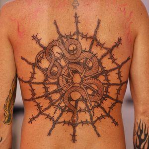 Tattoo by Mirko Sata #Mirkosata #besttattoos #best #linework #blackwork #barbedwire #snake #spider #detailed #reptile #animal #spiderweb #nature