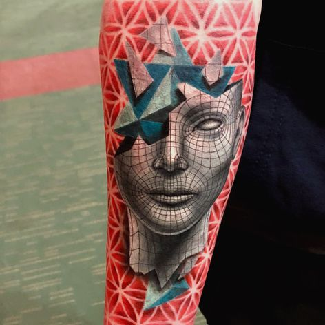 tridimentional (3d) face with merkaba symbol inside of the head and flower of life background / Done at Dublin tattoo Convention (2018) and wining 1st as best small colour! (A4 size) #3dtattoo #3D #merkaba #face #floweroflife #openmind #color #colortatoo
