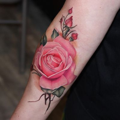 Tattoo by Anali De Laney #AnaliDeLaney #besttattoos #best #pink #rose #flower #floral #realism #realistic #hyperrealism #nature #plant