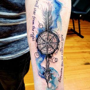 Secondstartothe right and straight on till morning #compasstattoo #compassarrowtattoo #arrowtattoo #watercolorcompass #abstracttattoo