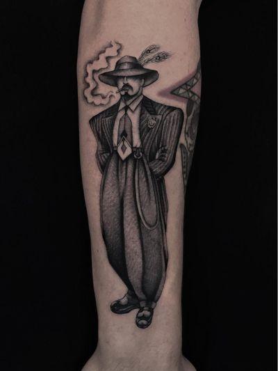 Illegal Tattoos: Juan Diego Prieto #IllegalTattoos #JuanDiego #JuanDiegoPrieto #blackandgrey #fineline #Chicano #1940s #vintage #pachuco #zootsuit #OG #gangsta