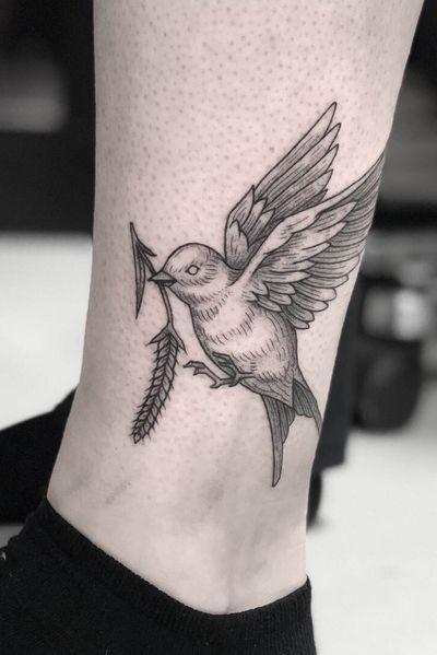 Swallow with rye #bird #swallow #birdtattoo #swallowtattoo #rye #catcherintherye #leg #wings #flying #blackwork #blackworktattoo #fineline #dotwork #blackandgrey #engraving