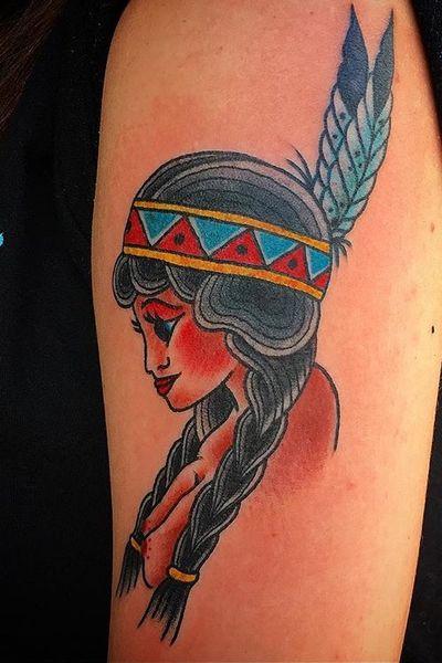 Lady tattoo. #philadelphia #lady #headdress #traditional #boldwillhold #americana #color