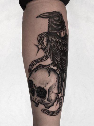 Illegal Tattoos: Juan Diego Prieto #IllegalTattoos #JuanDiego #JuanDiegoPrieto #blackandgrey #fineline #Chicano #raven #chains #skull #death