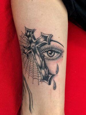 Illegal Tattoos: Juan Diego Prieto #IllegalTattoos #JuanDiego #JuanDiegoPrieto #blackandgrey #fineline #Chicano #cross #eye #spiderweb #tears