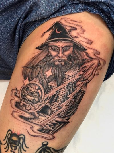Illegal Tattoos: Juan Diego Prieto #IllegalTattoos #JuanDiego #JuanDiegoPrieto #blackandgrey #fineline #Chicano #wizard #castle #crystalball #magic #skull #death