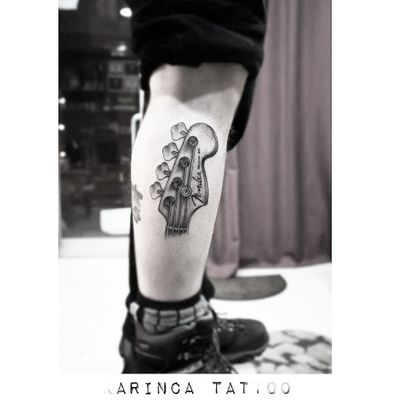 Fender Precision Bass 🎸 Instagram: @karincatattoo #karincatattoo #fender #precision #bass #guitar #realistic #music #leg #tattoo #tattoos #tattoodesign #tattooartist #tattooer #tattoostudio #tattoolove #ink #tattooed #dövme #istanbul #turkey #dövmeci #kadıköy