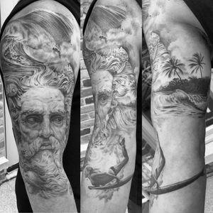 Tealistic, black and grey, fine line, 3rl only poseidon, surfing, ocean, aquatic sleeve in progress