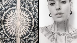 Tattoo on the left by Aries Rhysing and tattoo on the right by Xnazax #Xnazax #AriesRhysing #geometrictattoos #geometric #sacredgeometry