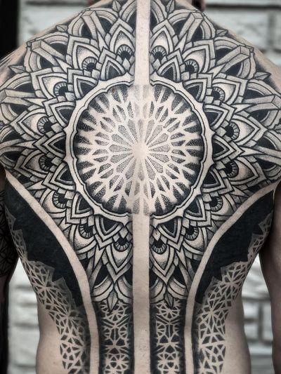Tattoo by Aries Rhysing #AriesRhysing #geometrictattoos #geometric #sacredgeometry #linework #fineline #tribal #dotwork #mandala