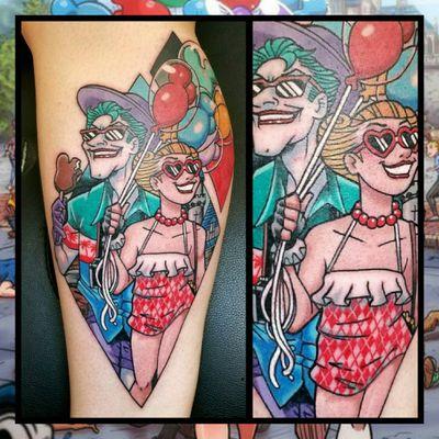 Joker and Harley...#inkfusion #inkfusionempire #geektattoo #geekedouttattoos #geeksterink #geekytattoos #comicbooktattoo #nerdytattoos #nerdtattoo #nerdtattoos #brightandbold #traditionaltattoo #realtattoos #realtraditional #tattoos #tattooflash #neotraditional #solidtattoo #lasvegastattooer #dccomicstattoo #dccomics #joker #batman #jokertattoo #batmantattoo #harleyquinn #harleyquinntattoo #disneytattoo #disneyland
