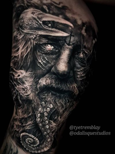 #poseidon #tenticle #nauticaltattoo #blackandgrey #realism