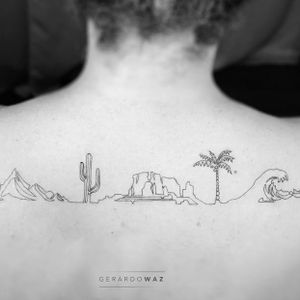 Tattoo by Gerardo Waz #GerardoWaz #cactustattoos #cactus #desert #plant #nature #fineline #linework #landscape #mountain #wave #palmtree