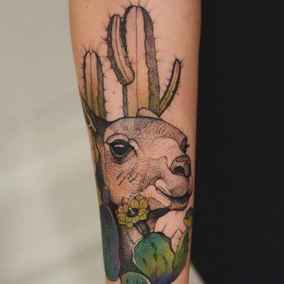 Tattoo by Dzo Lama #DzoLama #cactustattoos #cactus #desert #plant #nature #llama #color #watercolor #illustrative