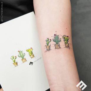 Tattoo by Felipe Marcelo #FelipeMarcelo #cactustattoos #cactus #desert #plant #nature #illustrative #color #potterplant #watercolor #sketch