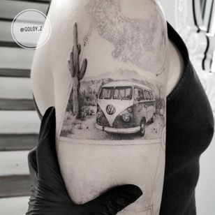 Tattoo by Goldy Z #GoldyZ #cactustattoos #cactus #desert #plant #nature #blackandgrey #volkwagen #vwbus #landscape #realism #realistic