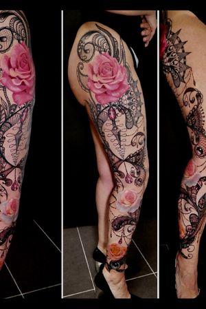 Leg sleeve #ornamental #mandala #rose #coverup #freehand #legsleeve