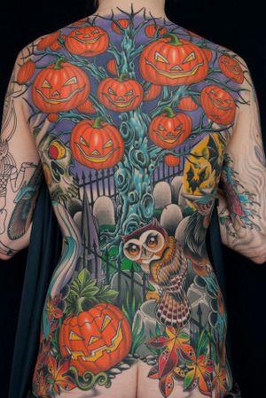 #halloween #halloweentattoo #jackolantern #pumpkin #pumpkins #backpiece #owl #owltattoo #graveyard #DarcyNutt